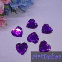 Стразы декор «сердце » 2.5 см фиолет