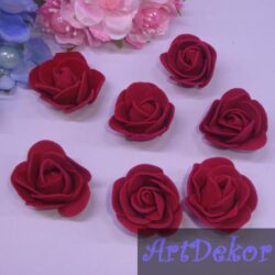 Головка розы из фома 3 см бардо