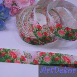 Лента репсовая 2.5 см бабочки и розы
