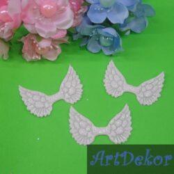 Крылышки ангелочка 5х3.5 см, белого цвета