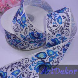 Лента репсовая 4 см петриковская роспись синяя