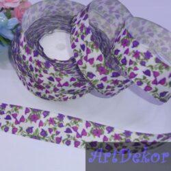 Лента репсовая 2.5 см колокольчики фиолетовые