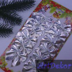 Бантик новогодний серебро