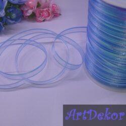 Лента бантовая органзовая 1 см , голубая