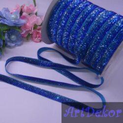 Тесьма люрексовая, 1 см синяя