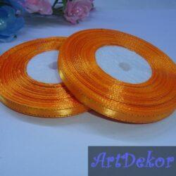 Лента атласная 0.6 см с люрексом, оранжевого цвета