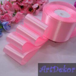 Лента атласная 5 см , розовая