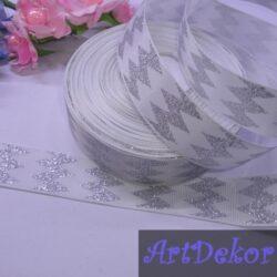 Лента репсовая 2.5 см с рисунком серебристый ромбик, белая
