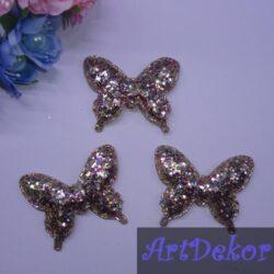 Бабочки эко кожа крупный глиттер 5,5см * 4,5см