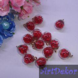 Бусина-подвеска шарик с красными камешками 16мм