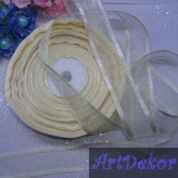 Органза 2.5 см с полосками кремового цвета