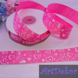 Лента репсовая 2.5 см с рисунком сердечки на ярко розовом