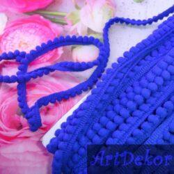 Тесьма мини помпон синяя