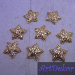 Звезды крупный глиттер золото