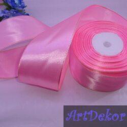 Лента атласная 5 см с люрексом розовая