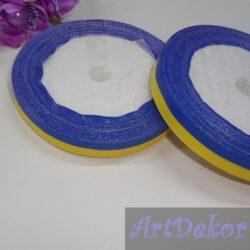 Лента атласная 1.2 см сине-желтая